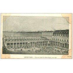 carte postale ancienne ANCIEN PARIS. Cour Jardin Palais Royal 1840