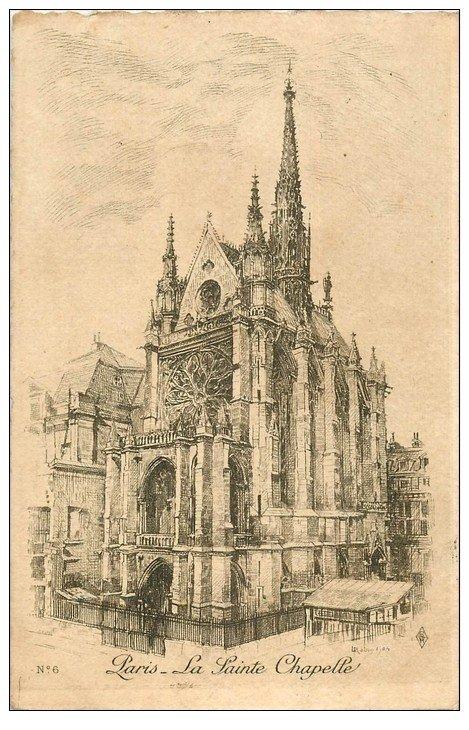 carte postale ancienne ANCIEN PARIS. La Sainte-Chapelle. Par Robin en 1905
