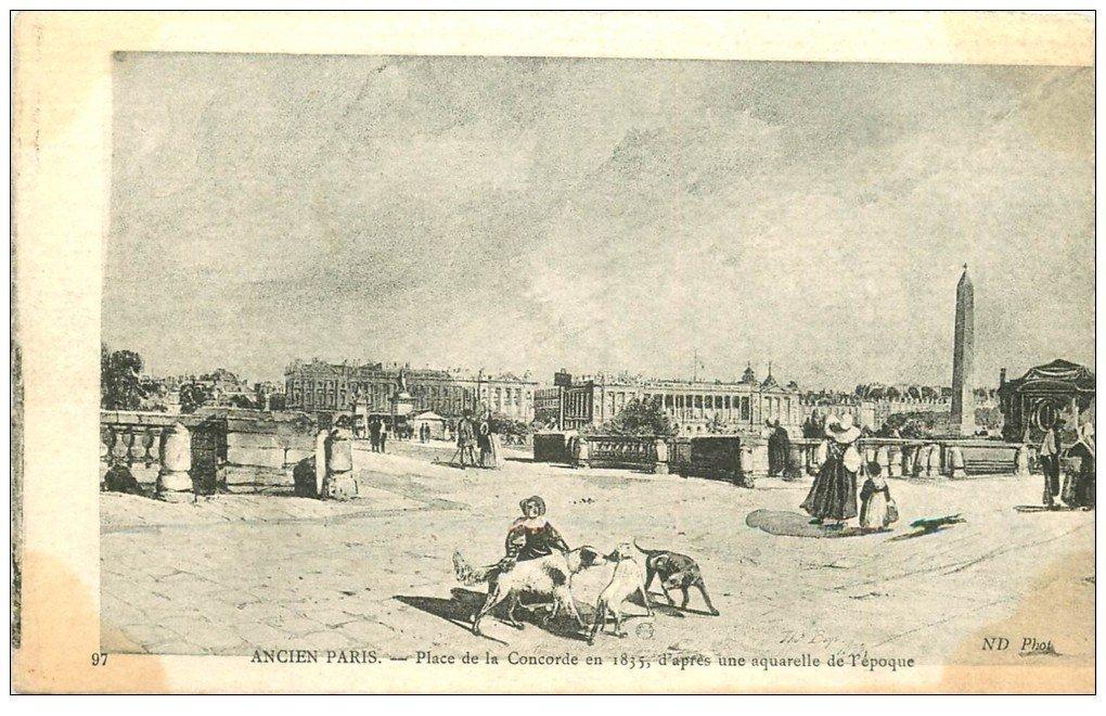 carte postale ancienne ANCIEN PARIS. Place Concorde 1835