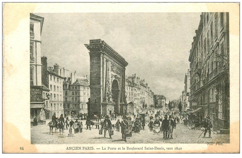 carte postale ancienne ANCIEN PARIS. Porte Boulevard Saint-Denis 1840