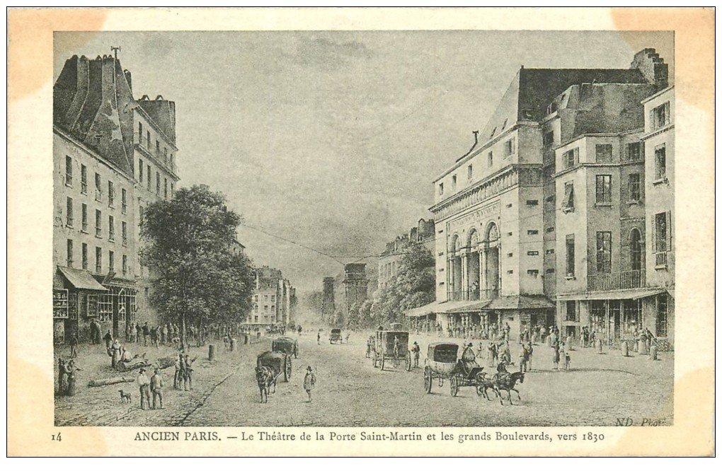 carte postale ancienne ANCIEN PARIS. Théâtre Porte Saint-Martin 1830