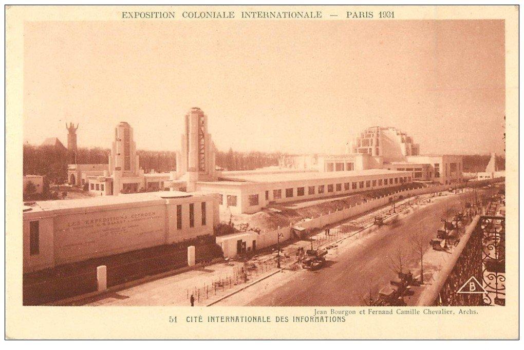 carte postale ancienne EXOPSITION COLONIALE INTERNATIONALE PARIS 1931. Cité Informations