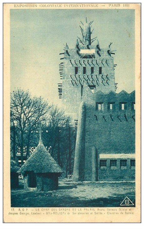 carte postale ancienne EXPOSITION COLONIALE INTERNATIONALE PARIS 1931. A.O.F Camp des Gardes