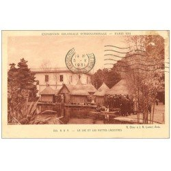 carte postale ancienne EXPOSITION COLONIALE INTERNATIONALE PARIS 1931. A.O.F Lac et Huttes Lacustres