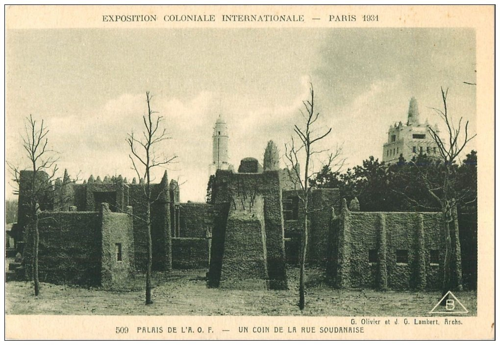 carte postale ancienne EXPOSITION COLONIALE INTERNATIONALE PARIS 1931. A.O.F Rue Soudanaise