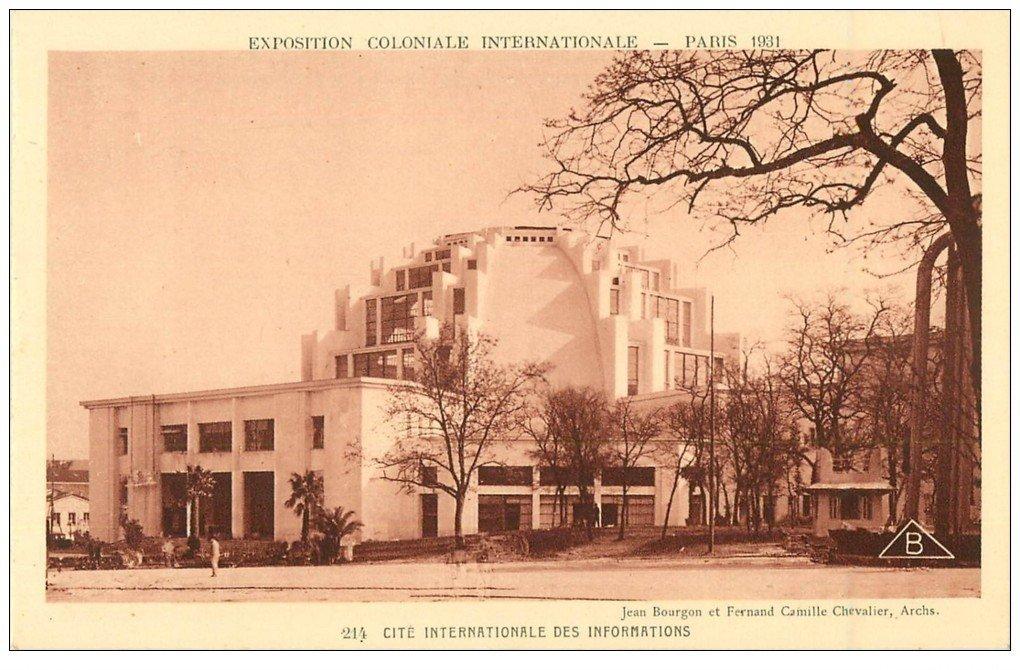 carte postale ancienne EXPOSITION COLONIALE INTERNATIONALE PARIS 1931. Cité des Informations