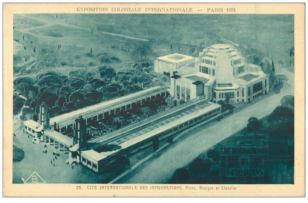 carte postale ancienne EXPOSITION COLONIALE INTERNATIONALE PARIS 1931. Cité Information 28