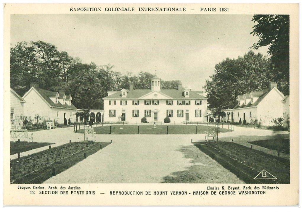 carte postale ancienne EXPOSITION COLONIALE INTERNATIONALE PARIS 1931. Etats-Unis Mont Vernon