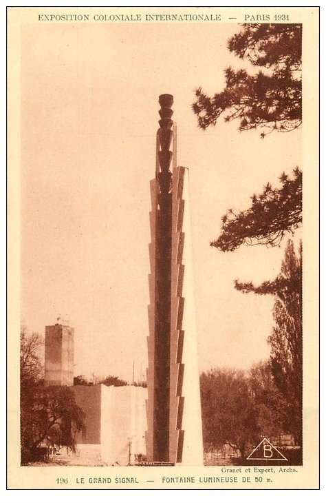carte postale ancienne EXPOSITION COLONIALE INTERNATIONALE PARIS 1931. Grand Signal Flèche lumineuse