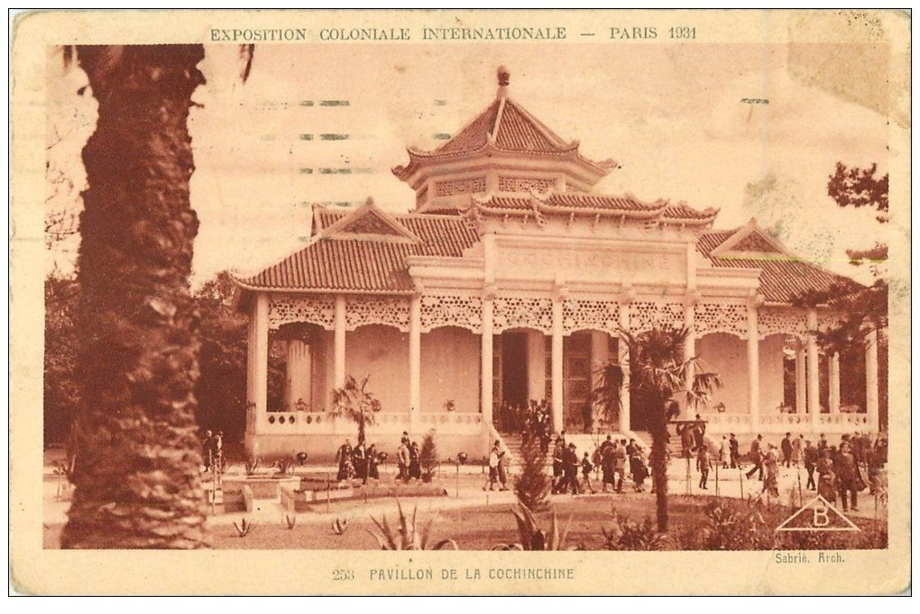 carte postale ancienne EXPOSITION COLONIALE INTERNATIONALE PARIS 1931. Pavillon Cochinchine