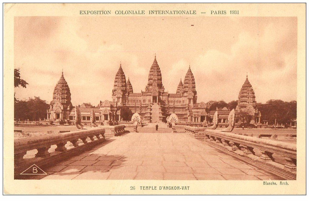 carte postale ancienne EXPOSITION COLONIALE INTERNATIONALE PARIS 1931. Temple Angkor-Vat