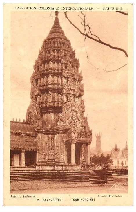 carte postale ancienne EXPOSITION COLONIALE INTERNATIONALE PARIS 1931. Temple Angkor-Vat 74