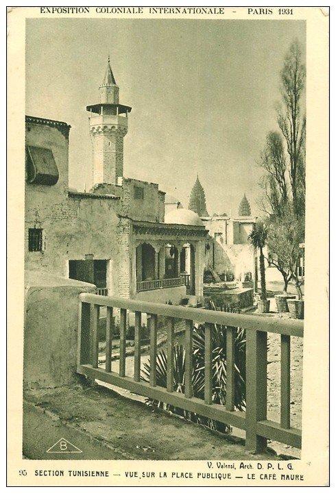 carte postale ancienne EXPOSITION COLONIALE INTERNATIONALE PARIS 1931. Tunisie Café Maure