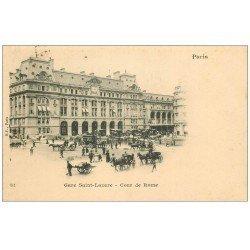 carte postale ancienne 1899 PARIS 08. Gare Saint-Lazare Cours de Rome Timbre 10 Centimes 1899