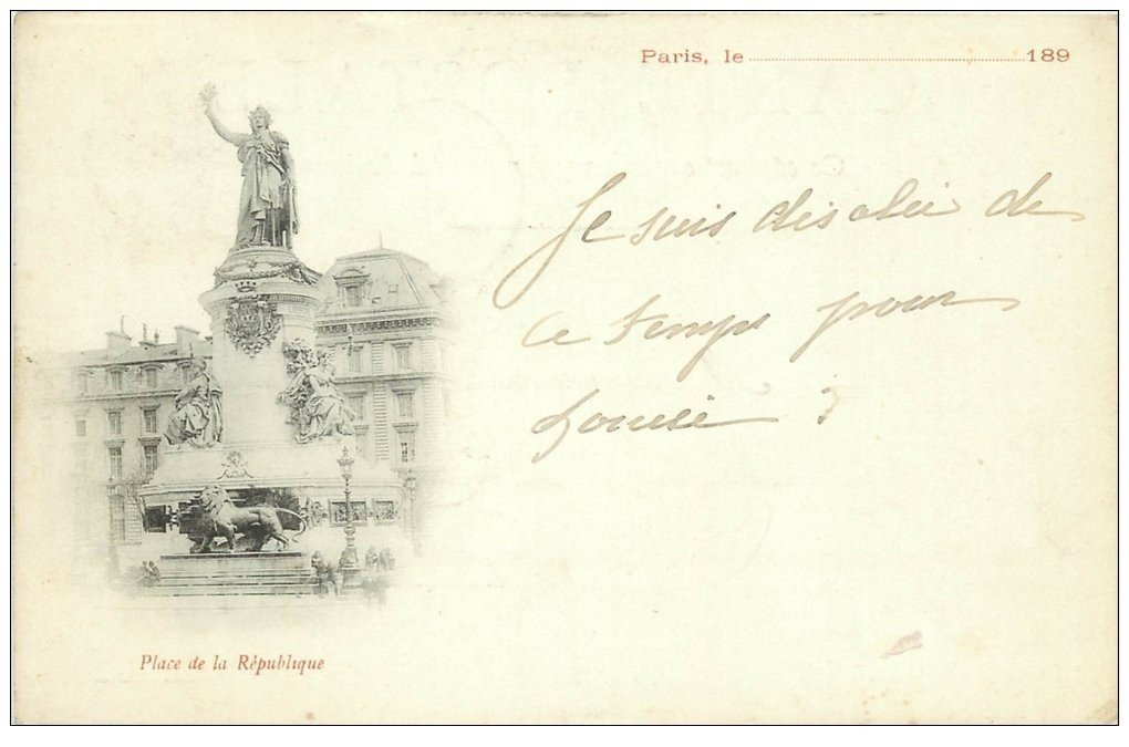 carte postale ancienne Rare 75 PARIS 10. Place de la République 1899