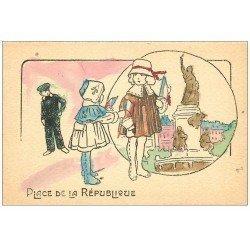 Rare 75 PARIS 10. Place de la République colorisée et peinte à la main 1925. Drapeaux tricolores