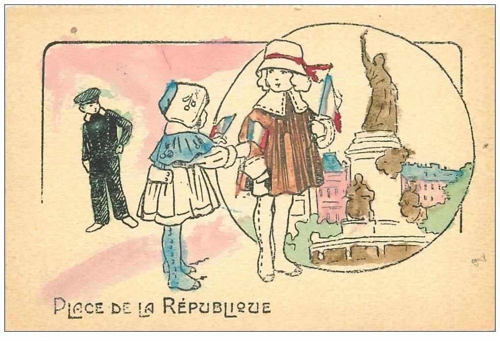 carte postale ancienne Rare 75 PARIS 10. Place de la République colorisée et peinte à la main 1925. Drapeaux tricolores
