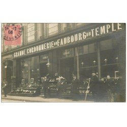 carte postale ancienne Rare et Superbe Carte Photo PARIS XI°. Grande Cordonnerie Lebouc 76 rue du Faubourg du Temple en 1906.