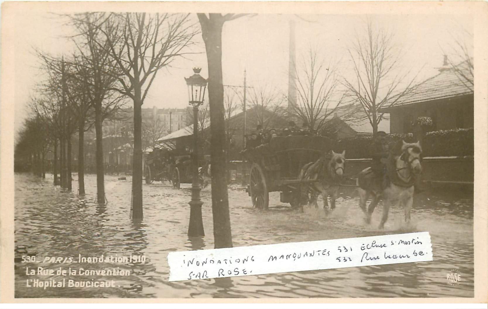 INONDATION DE PARIS 1910. Hôpital Boucicaut Rue de la Convention attelages