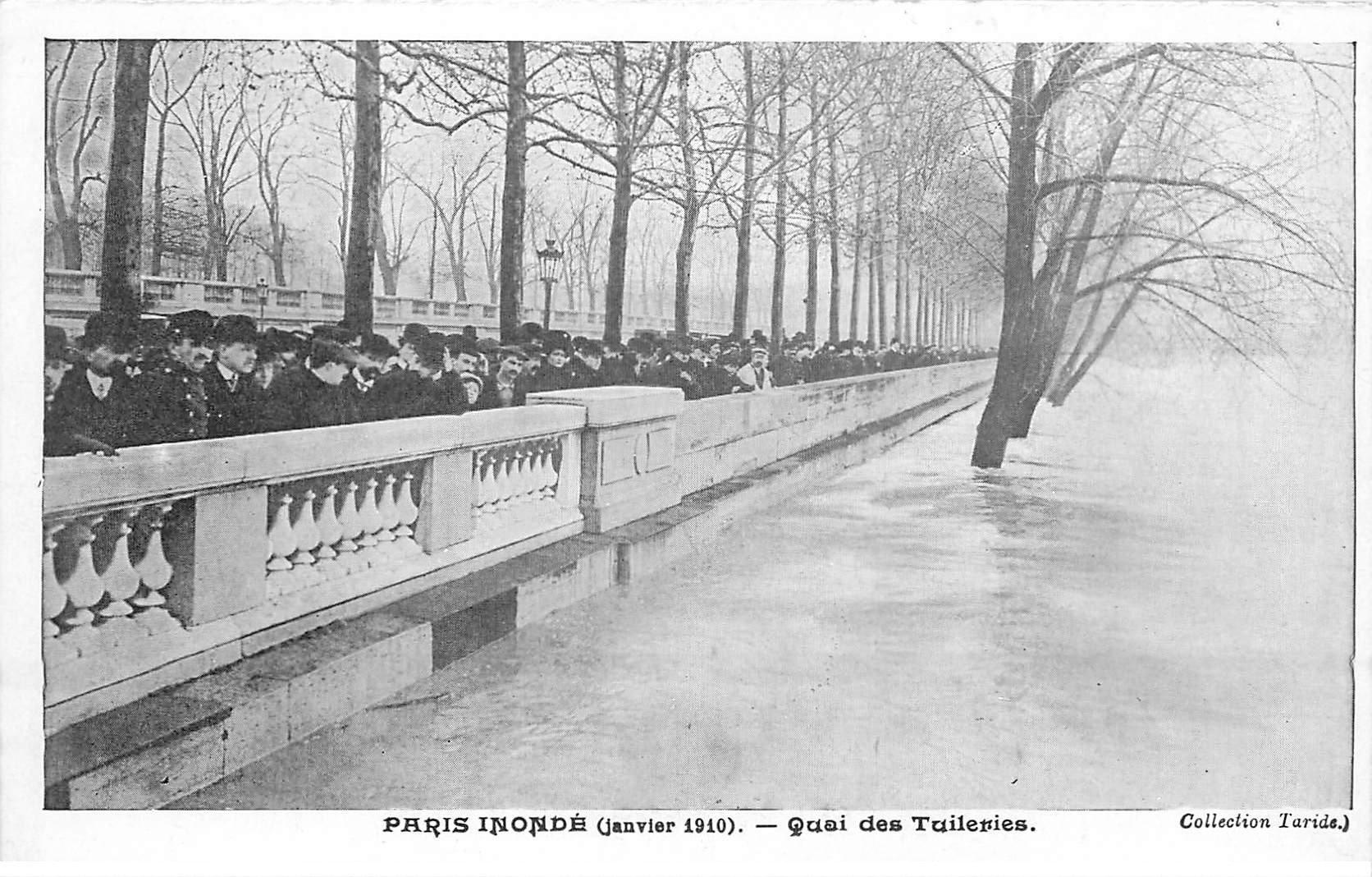 INONDATION DE PARIS 1910. Quai des Tuileries. Collection Taride