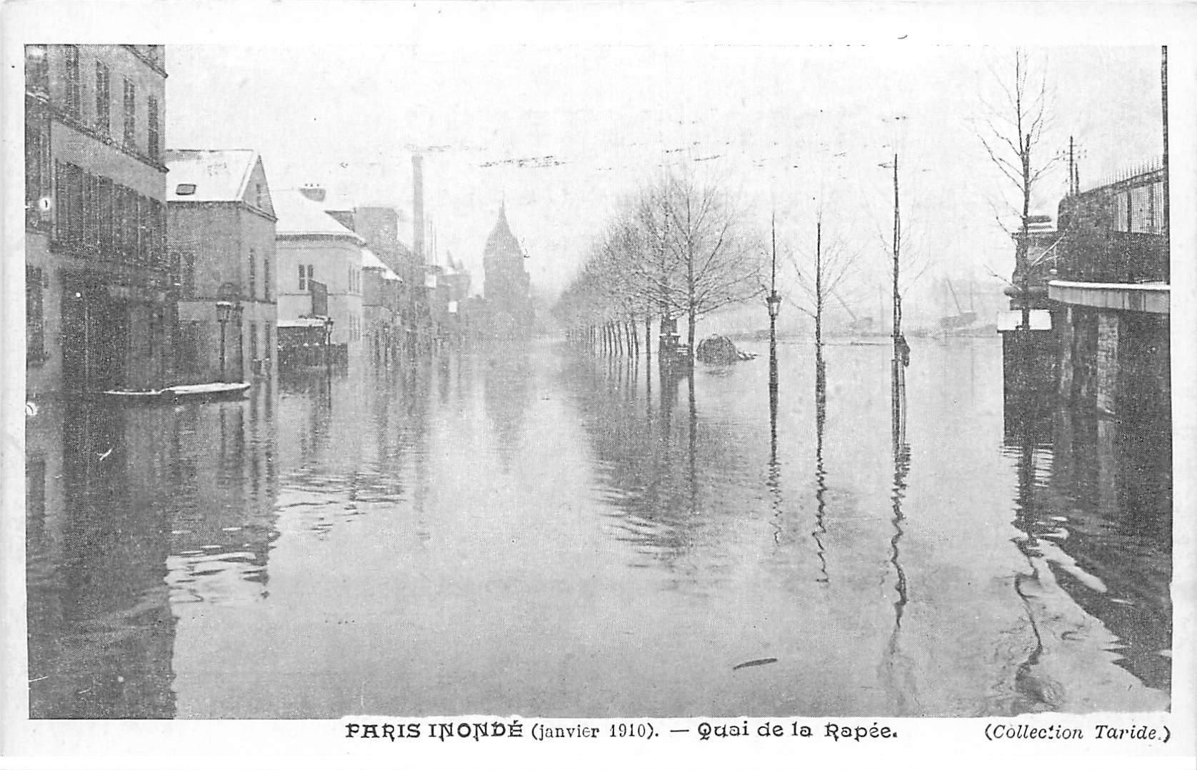 carte postale ancienne INONDATION DE PARIS 1910. Quai de la Rapée. Collection Taride