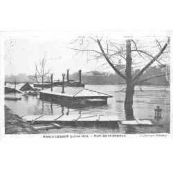 carte postale ancienne INONDATION DE PARIS 1910. Port Saint-Nicolas. Collection Taride