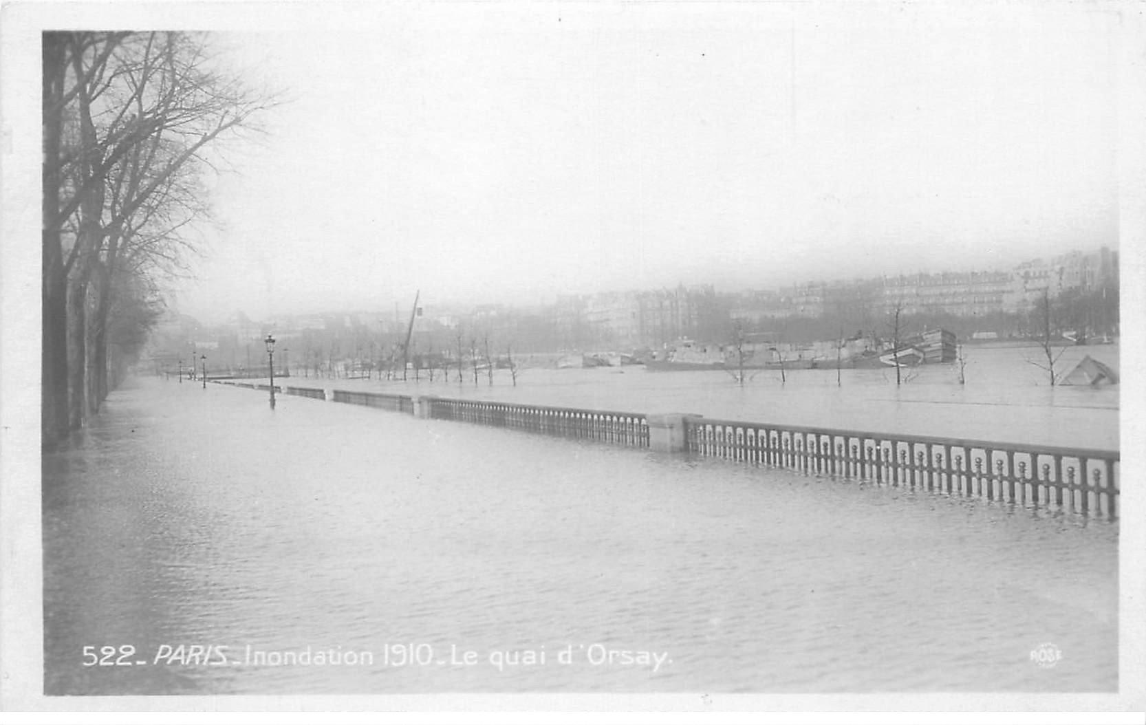 INONDATION DE PARIS 1910. Quay d'Orsay. Edition Rose