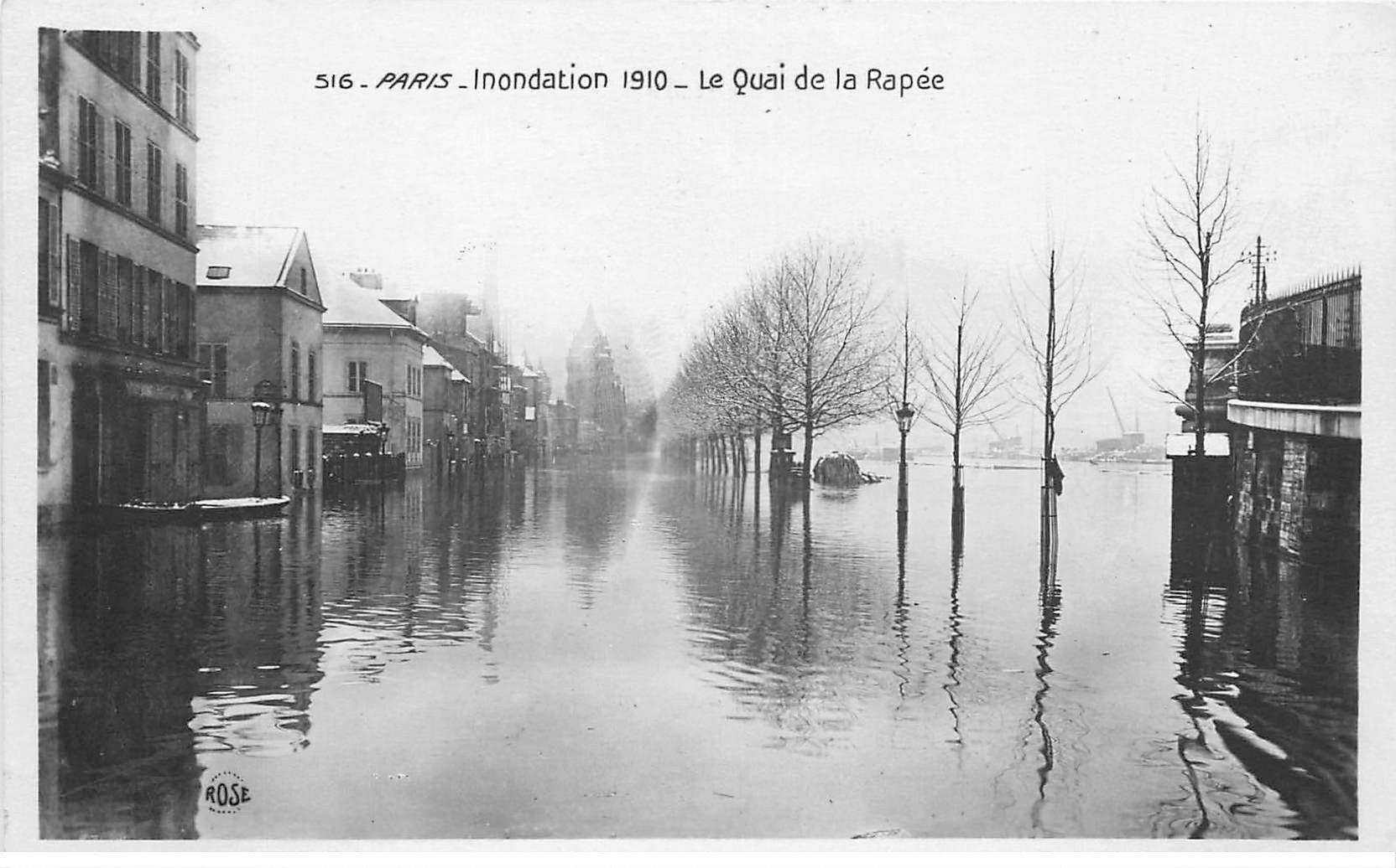 carte postale ancienne INONDATION DE PARIS 1910. Quay de la Rapée. Edition Rose