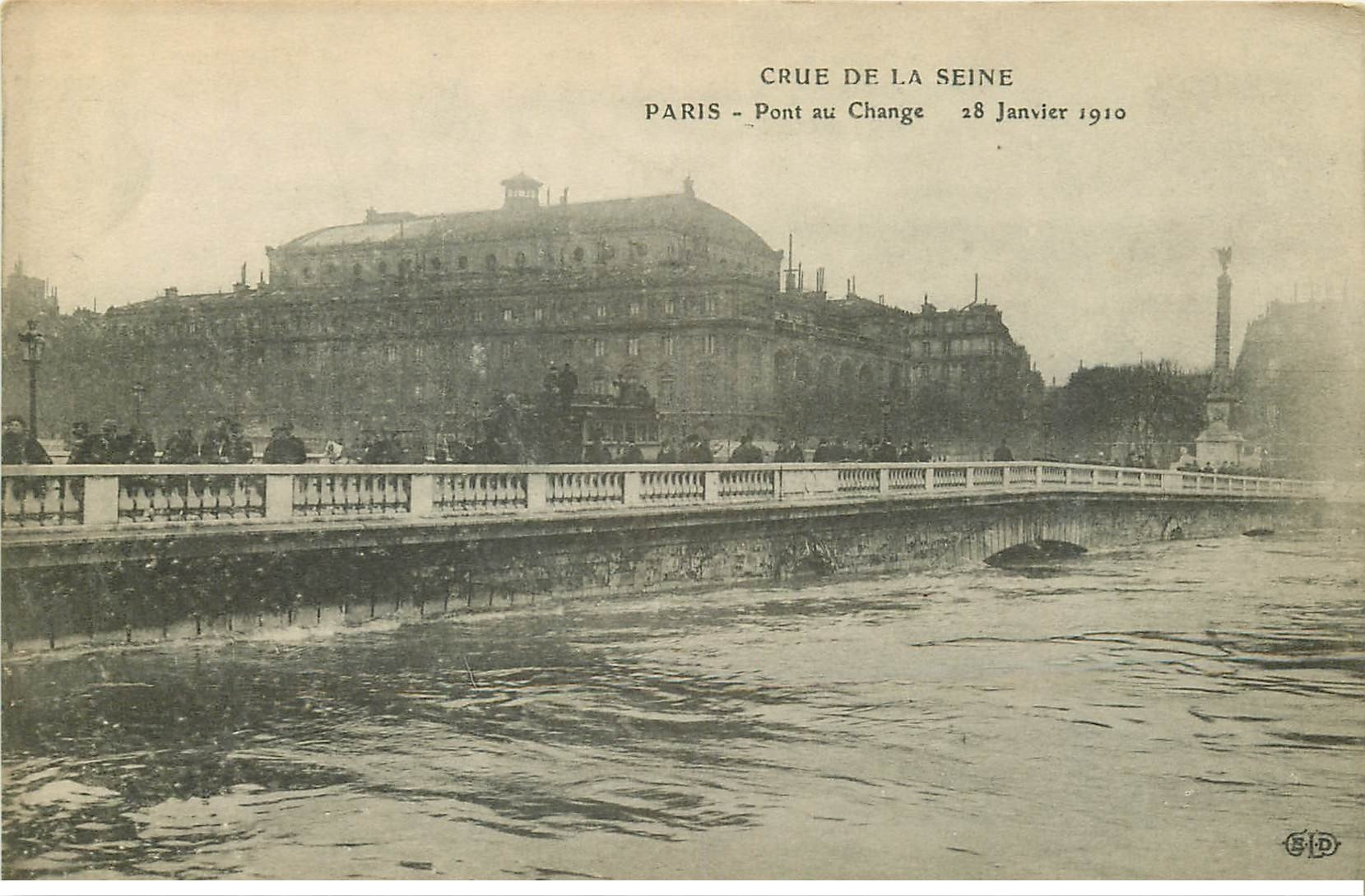 carte postale ancienne INONDATION DE PARIS 1910. Pont au Change