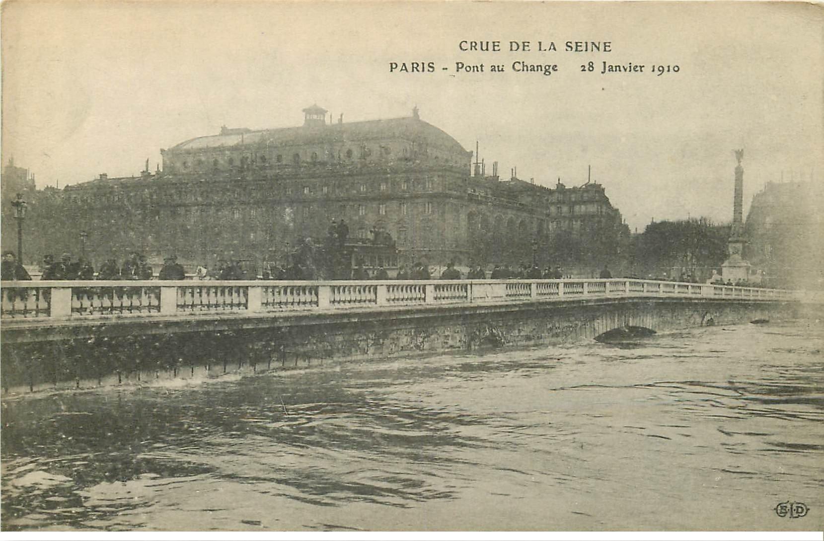 INONDATION DE PARIS 1910. Pont au Change