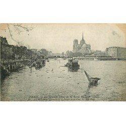 carte postale ancienne INONDATION ET CRUE DE PARIS 1910. Port de la Tournelle et Cité