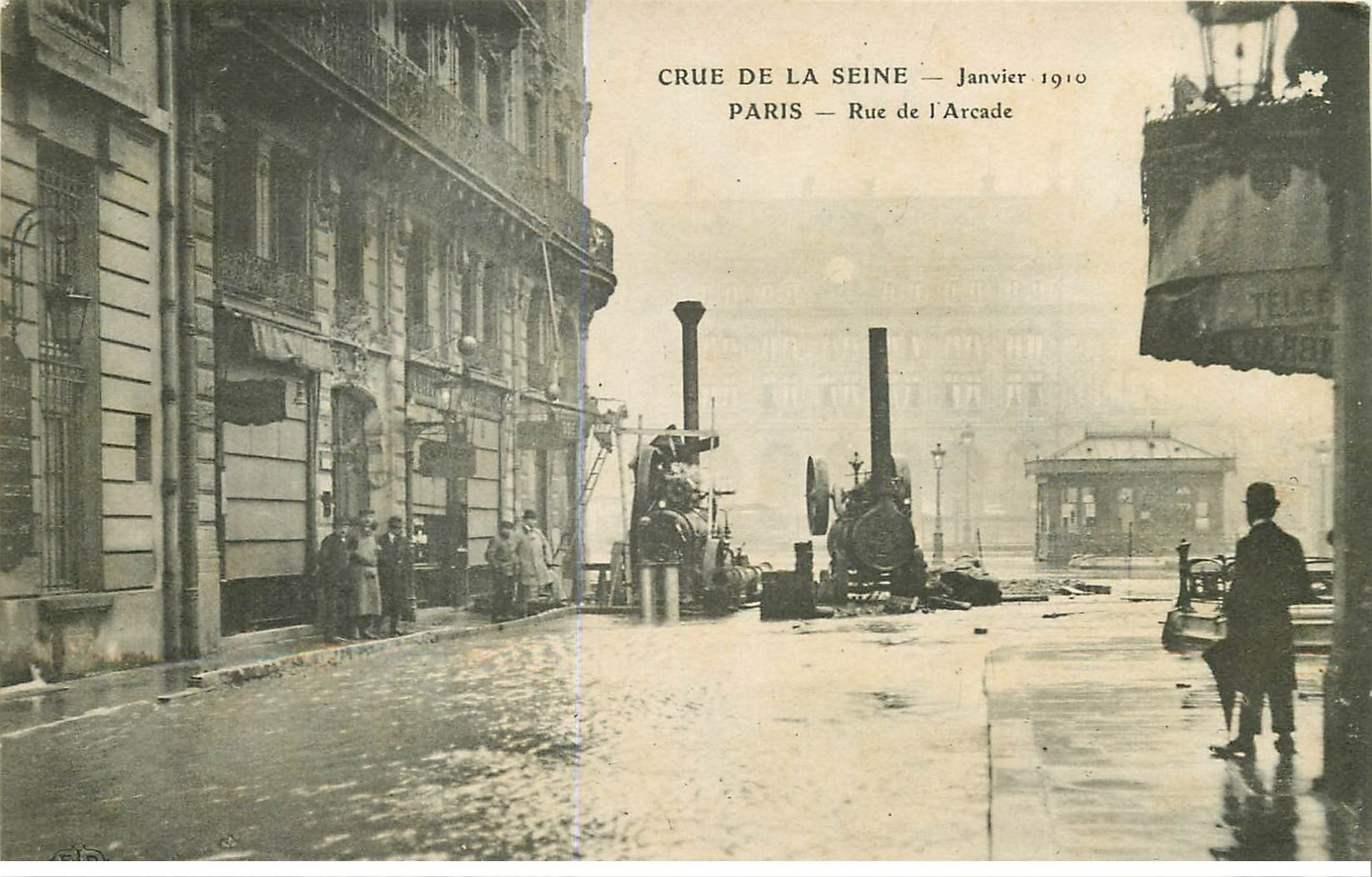 carte postale ancienne INONDATION ET CRUE DE PARIS 1910. Rue Arcade machines extraction et pompage de l'eau