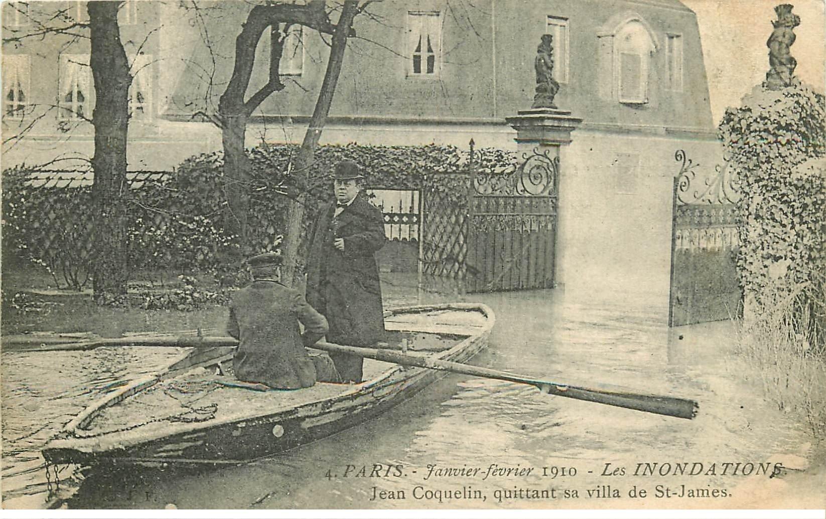 INONDATION ET CRUE DE PARIS 1910. Coquelin quittant sa Villa Saint-James