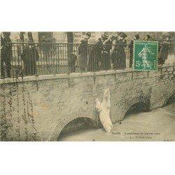 carte postale ancienne INONDATION ET CRUE DE PARIS 1910. Ours blanc au Jardin des Plantes