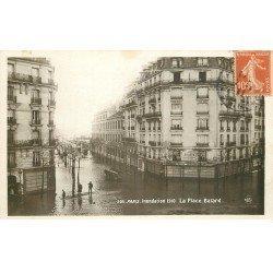 carte postale ancienne INONDATION ET CRUE DE PARIS 1910. Place Balard