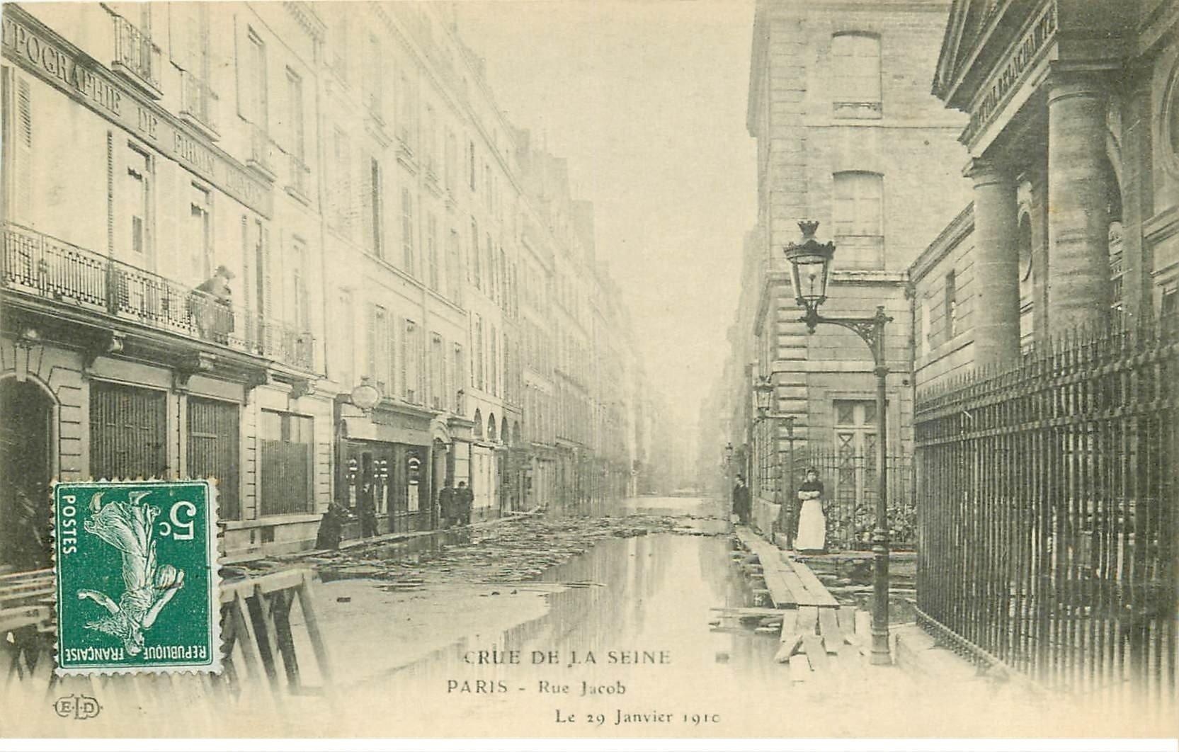 carte postale ancienne INONDATION ET CRUE DE PARIS 1910. Rue Jacob