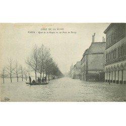 carte postale ancienne INONDATION ET CRUE DE PARIS 1910. Quai de la Rapée