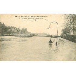 carte postale ancienne INONDATION ET CRUE DE PARIS 1910. Pont Marie les Lanternes sous l'eau