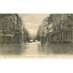 carte postale ancienne INONDATION ET CRUE DE PARIS 1910. Rue Faubourg Saint-Antoine Félix Potin