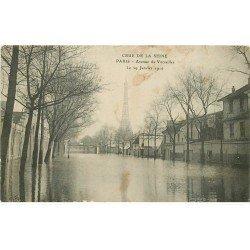 carte postale ancienne INONDATION ET CRUE DE PARIS 1910. Avenue de Versailles