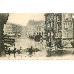 carte postale ancienne INONDATION ET CRUE DE PARIS 1910. Gare Saint-Lazare Place Rome
