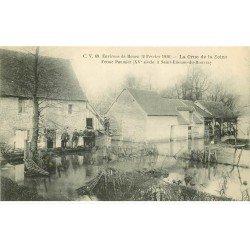 carte postale ancienne Inondation et Crue de 1910. SAINT-ETIENNE-DU-ROUVRAY 76. Ferme Paumier