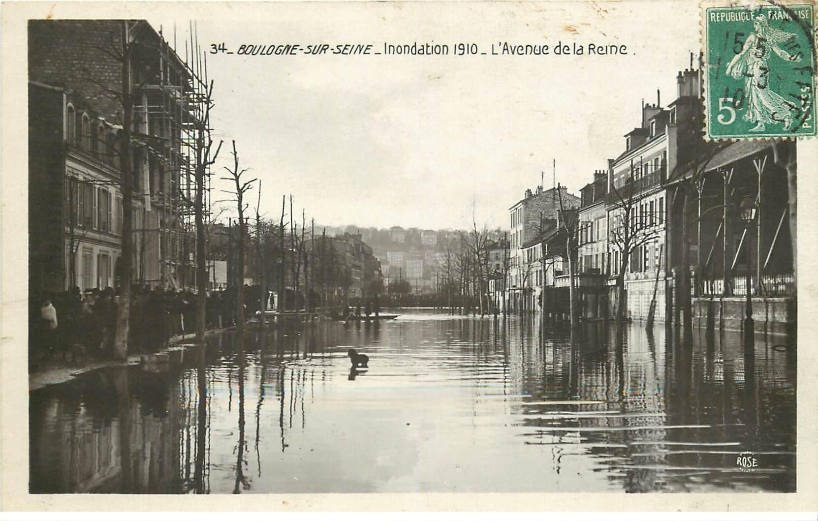 carte postale ancienne Inondation et Crue de 1910. BOULOGNE-SUR-SEINE 92. Avenue de la Reine