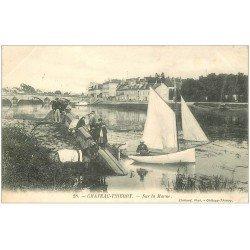 carte postale ancienne 02 CHATEAU-THIERRY. Pêcheurs et petit voilier sur la Marne 1904 avec Cheval