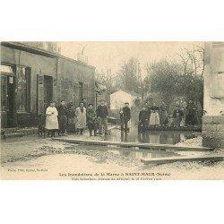 carte postale ancienne Inondation et Crue de 1910. SAINT-MAUR 94. Villa Schacken avenue Sévigné
