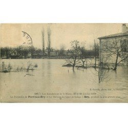 carte postale ancienne Inondation et Crue de 1910. LE PERREUX BRY 94. Quai de halage. Timbre manquant