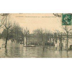 carte postale ancienne Inondation et Crue de 1910. LA VARENNE 94. Quai de Bonneuil Hôtel Restaurant du Martin Pêcheur