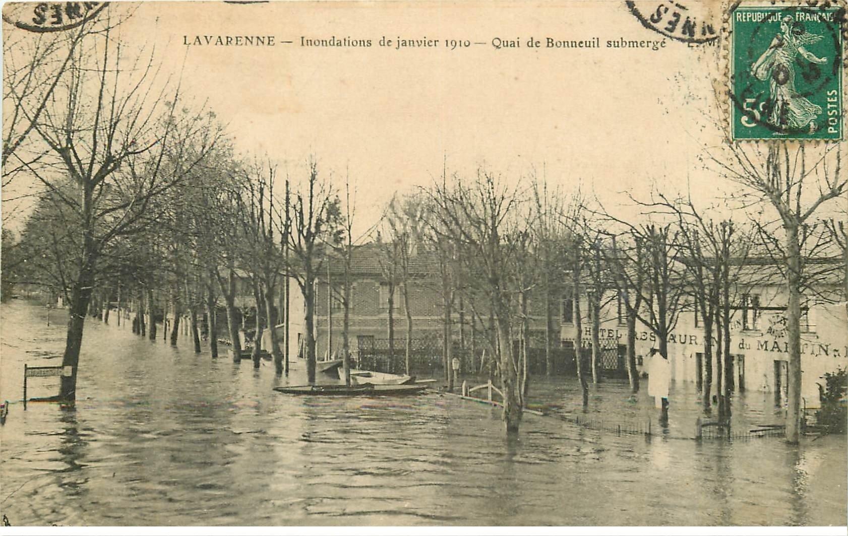 Inondations et Crue de 1910. LA VARENNE 94. Quai de Bonneuil Hôtel Restaurant du Martin Pêcheur