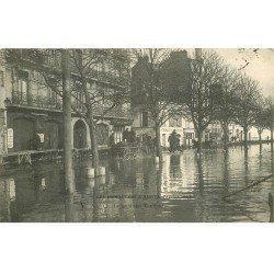 carte postale ancienne Inondation et Crue de 1904. NANTES 44. Quai des Tanneurs