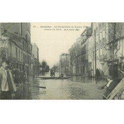 Inondation et Crue de 1910. ASNIERES 92. Avenue de Paris